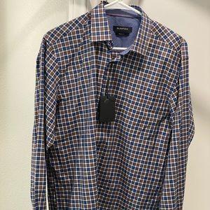 NWT Men's Medium Bugatchi Brown & Blue Sportshirt